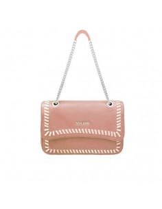 Mia Bag tracolla color cipria con intreccio a contrasto