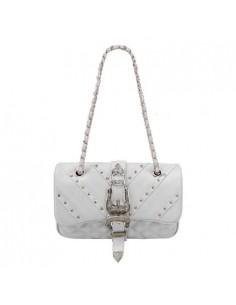 Mia Bag tracolla Texas termoformata con borchie, colore bianco