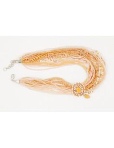 collana bigiotteria multifilo oro e ambra