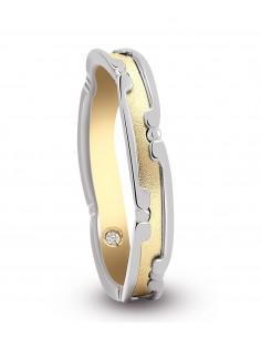 fede matrimoniale ARTLINEA greca oro bianco/brunito 18kt e diamante