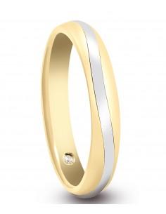 fede matrimoniale ARTLINEA con nastro oro rosa/bianco 18kt e diamante