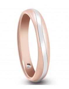 fede matrimoniale ARTLINEA con nastro oro rosa/bianco satinato 18kt e diamante