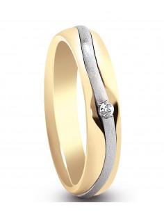 fede matrimoniale ARTLINEA con nastro oro giallo/bianco satinato 18kt e diamante 0.02kt