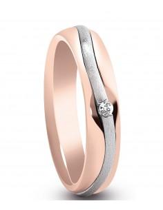 fede matrimoniale ARTLINEA con nastro oro rosa/bianco satinato 18kt e diamante 0.02kt