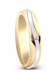 fede matrimoniale ARTLINEA con nastro oro giallo/bianco 18kt e diamante 0.02kt