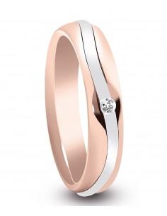 fede matrimoniale ARTLINEA con nastro oro rosa/bianco 18kt e diamante 0.02kt