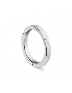 fede matrimoniale ARTLINEA oro bianco 18kt con 3 diamanti