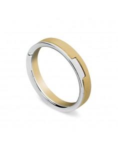 fede matrimoniale ARTLINEA con fantasia oro bianco/giallo satinato 18kt con diamante
