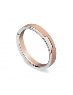fede matrimoniale ARTLINEA con fantasia oro bianco/rosa satinato 18kt con diamante