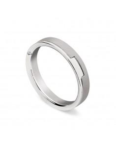fede matrimoniale ARTLINEA con fantasia oro bianco/bianco satinato 18kt con diamante
