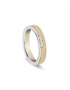 fede matrimoniale ARTLINEA con fantasia oro bianco/giallo satinato 18kt con 9 diamanti
