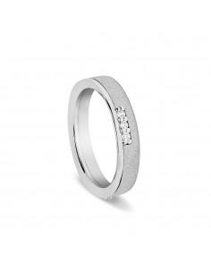 fede matrimoniale ARTLINEA con fantasia oro bianco/rosa satinato 18kt con 9 diamanti