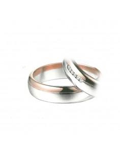 fede matrimoniale POLELLO Oro Bianco e Rosa 18 kt