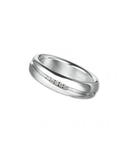 fede matrimoniale POLELLO Oro Bianco 18 kt Diamanti 0,04 kt