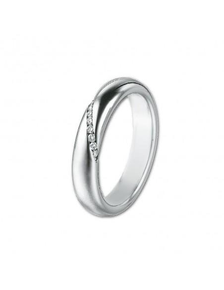 fede matrimoniale POLELLO Oro Bianco 18 kt Diamanti 0,07 kt