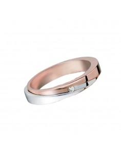 fede matrimoniale POLELLO Oro Bianco e Rosa 18 kt Diamanti 0,04 kt