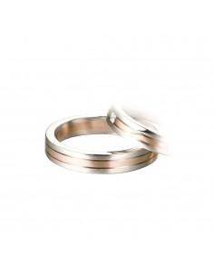 fede matrimoniale POLELLO Oro Bianco e Rosa 18 kt Diamanti 0,18 kt