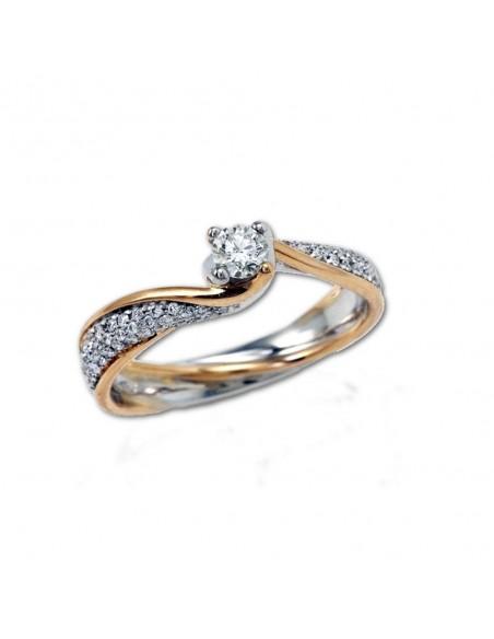 Solitario POLELLO Oro Bianco e Rosa 18 kt Diamanti 0,44 kt