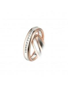 fede matrimoniale POLELLO Oro Bianco e Rosa 18 kt Diamanti 0,17 kt