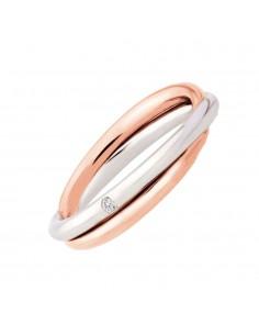 fede matrimoniale POLELLO Oro Bianco e Rosa 18 kt Diamanti 0.03 kt