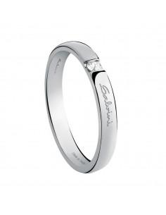 Fede Matrimoniale First Date SALVINI Oro Bianco 18 kt con diamante 0.025 kt