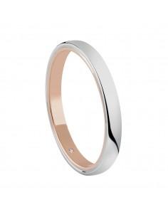 Fede Matrimoniale First Date SALVINI Oro Bianco e Rosa 18 kt con diamante 0.005 kt