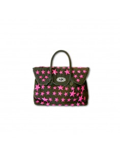 Mia Bag Due manici con borchie a stella a contrasto - Verde militare
