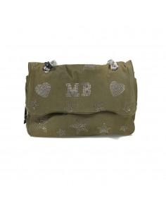 Mia Bag Tracolla strass a stella - Verde militare