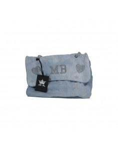 Mia Bag Tracolla Maxi strass a stella - Denim Blu