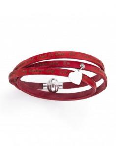 """Bracciale rosso """"Ti amo"""" in tutte le lingue del mondo + Cuore pendente metallo AMEN"""