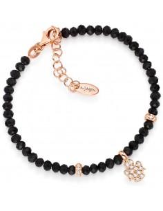 Bracciale Argento rosato + cristalli neri + zirconi bianchi AMEN