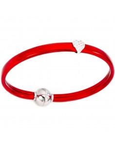 Bracciale rosso Argento + termoplastica e zirconi bianchi 17 cm AMEN