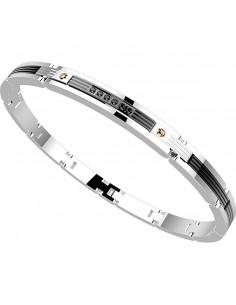 bracciale in acciaio HITECH ZANCAN Pvd Nero con SPINELLI NERI