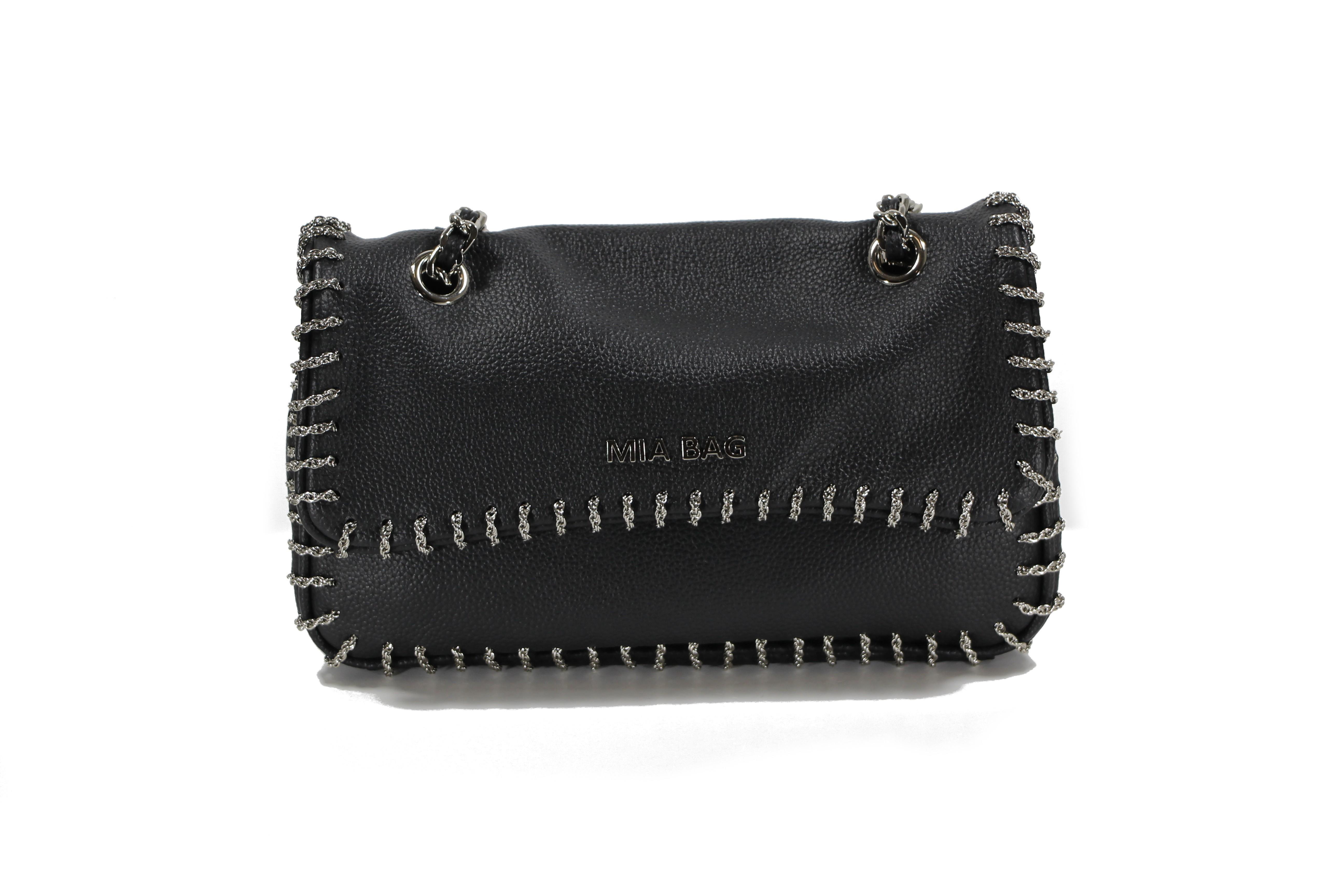 9383d55f2e MIA BAG tracolla media leather con intreccio catena nero - Opera Italiana  Jewellery