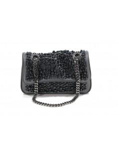 MIA BAG tracolla media leather con perle all over - nero