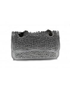 MIA BAG tracolla media leather con perle all over - argento