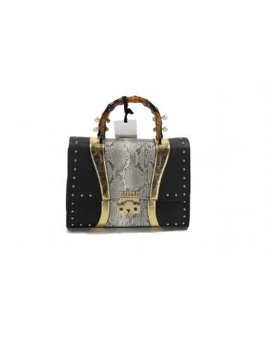 d22a3d18dd Flap bag GAELLE PARIS - nero,oro e pitonato GBDA401