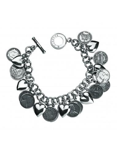 bracciale argento cuori & monete Giovanni Raspini