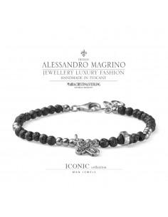 Bracciale Argento croce e perle di lava- M.C. Sterling