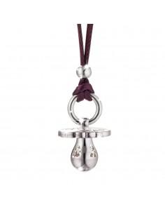Ciondolo ciuccio SUONAMORE di LE BEBE' in argento con cordino viola