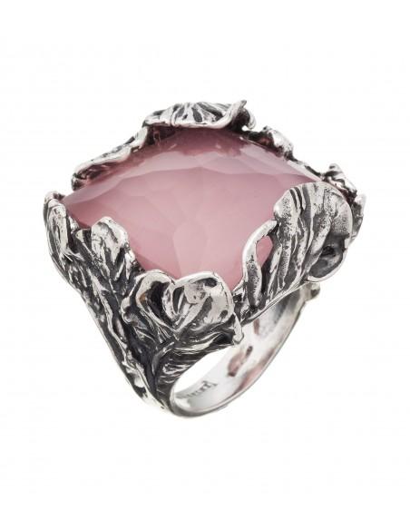 anello argento piume doublette rosè Giovanni Raspini