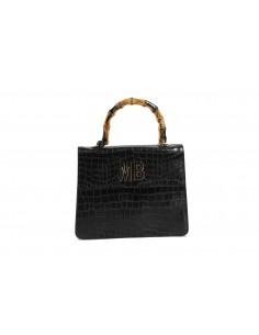 MIA BAG Doctor Bag in pelle con manico in bamboo - Nero