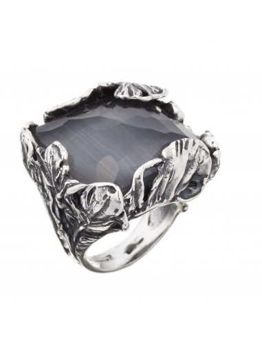 anello argento piume doublette rock Giovanni Raspini