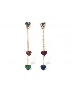 Orecchini Kurshuni in argento rosato Multi Heart
