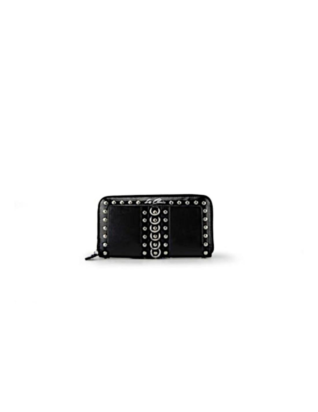 negozio online c2d5d b4e56 Portafoglio LA CARRIE BAG Big Dark - Ecopelle + Borchie - Nero
