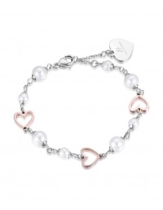 Luca Barra - Bracciale con cuori rosè e perle bianche