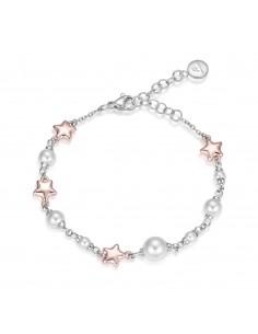 Luca Barra - Bracciale con perle e stelle rosè