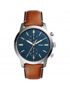 Fossil orologio uomo Townsman. In acciaio con cinturino in pelle di colore marrone FS5279