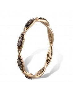 MORAGLIONE 1922 Sahara anello giro oro e diamanti brown kt.0.24