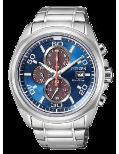 CITIZEN orologio uomo acciaio multifunzione con cassa azzurra e blu